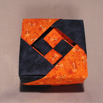 Square - Lozenge, Orange Floral and Blue