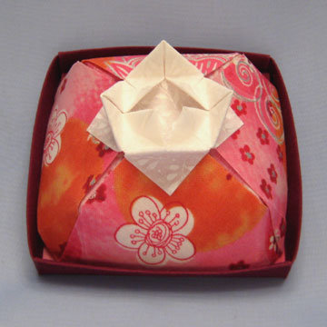 Square - Cake Box, Silver Floral on Pink Orange