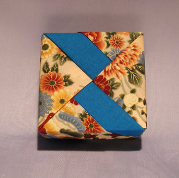 Square - Bands, Asian Floral and Blue