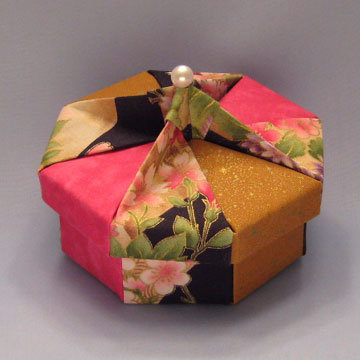 Octagon - Knob, Asian Flowers, Speckled Gold, and Fuchsia