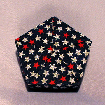 Pentagon - Plain, Silver and Red Stars on Navy