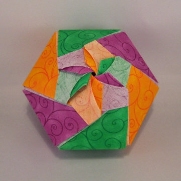 Hexagon - Dome Blossom, Purple, Yellow, Green Swirls