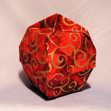 Lamp Bowl - Knob, Gold Swirls on Red