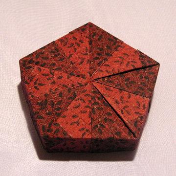 Pentagon - Pinwheel, Leaves on Burgundy