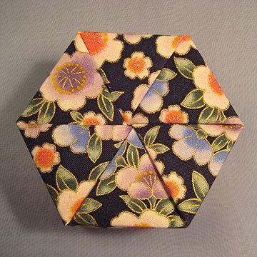 Hexagon - Plain, Asian Floral Navy