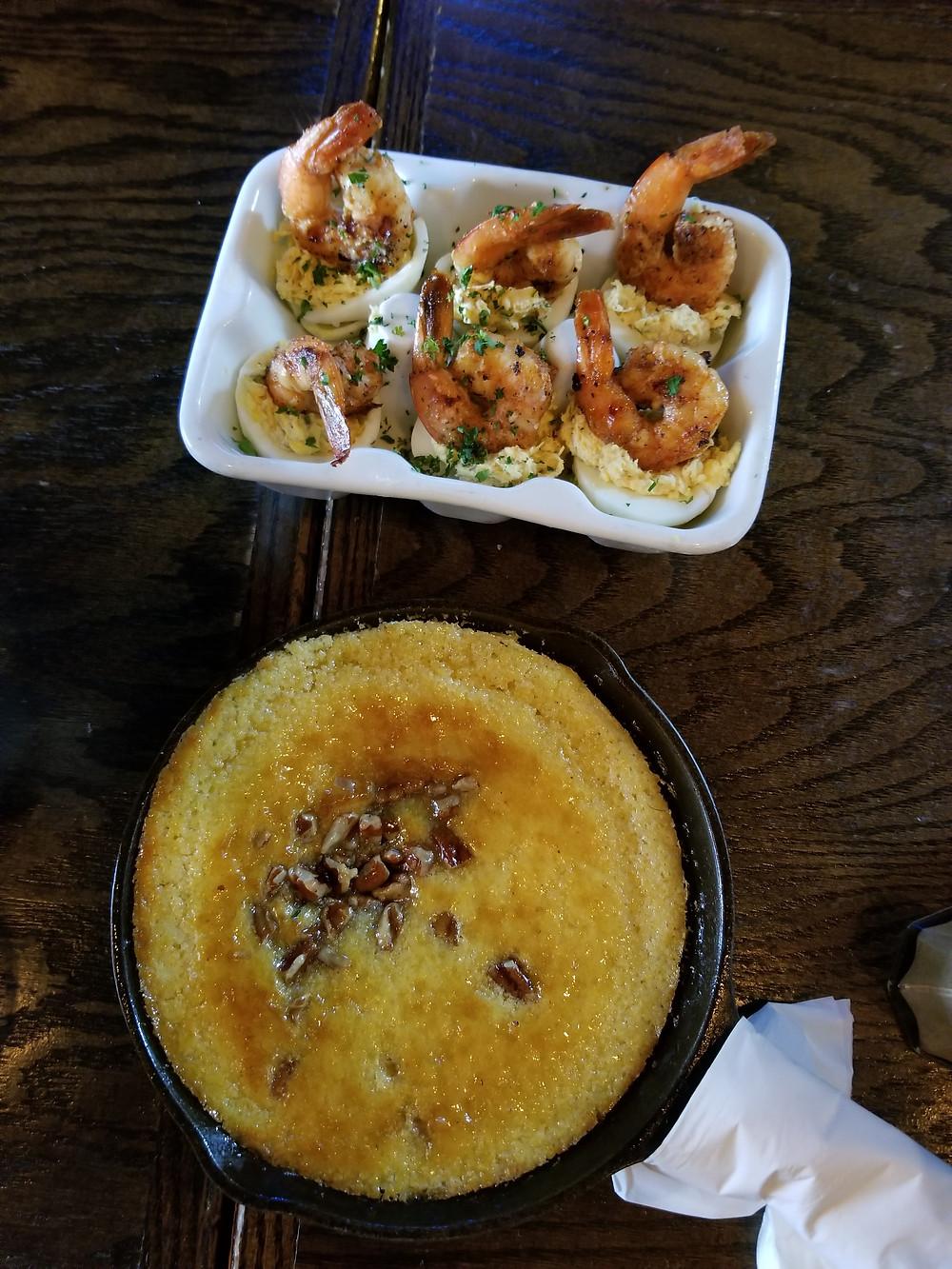 Skillet Butter Pecan Cornbread/ Crab & Shrimp Deviled Eggs