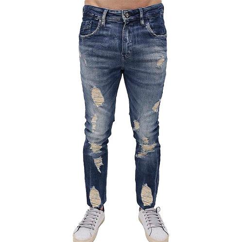 Calça Skinny R&S Destroyed Lavagem Escura