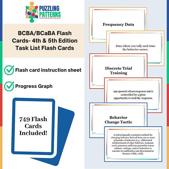 749 BCBA/BCaBA Flash Cards- 4th & 5th Edition Task List & Progress Graph