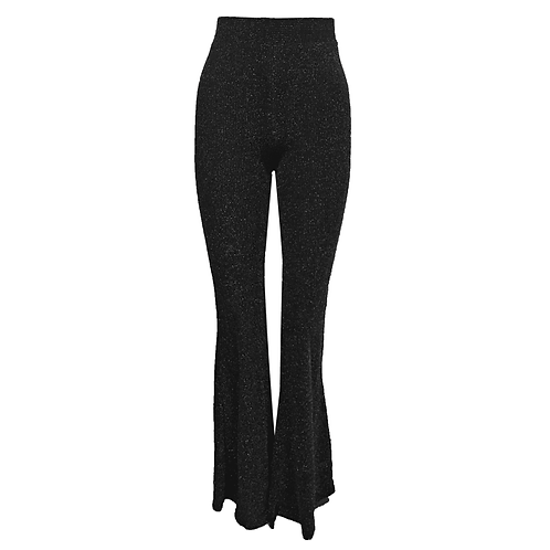 Flared pants glitter black