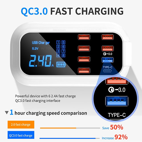 8 Ports Quick Charge 3.0 USB Charger for Android iPhone Adapter 18W