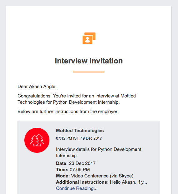 Interview invitation email from employer
