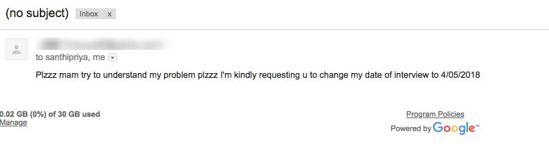 Screenshot of Email Using 'SMS' Language