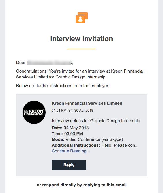 Original Screenshot of Internship Interview Invitation
