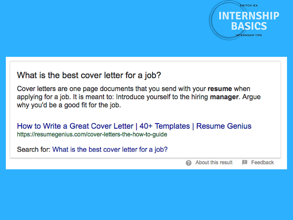 Cover Letter Internship Basics
