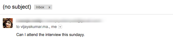 Screenshot of Email missing the Subject Line