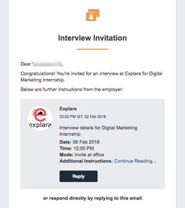 Interview Invitation email sent to selected students