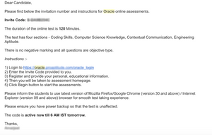 Email from Oracle Talent Acquisition Team