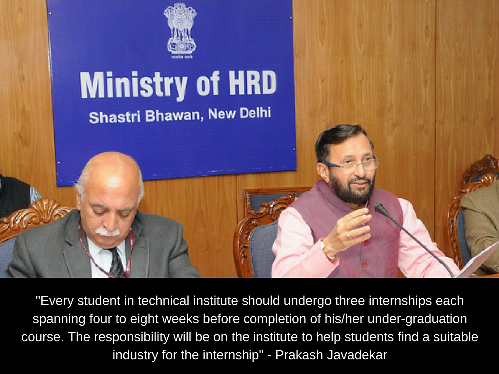 3 Internships Mandatory for Engineering Students among the many proposals benched by HRD Minister