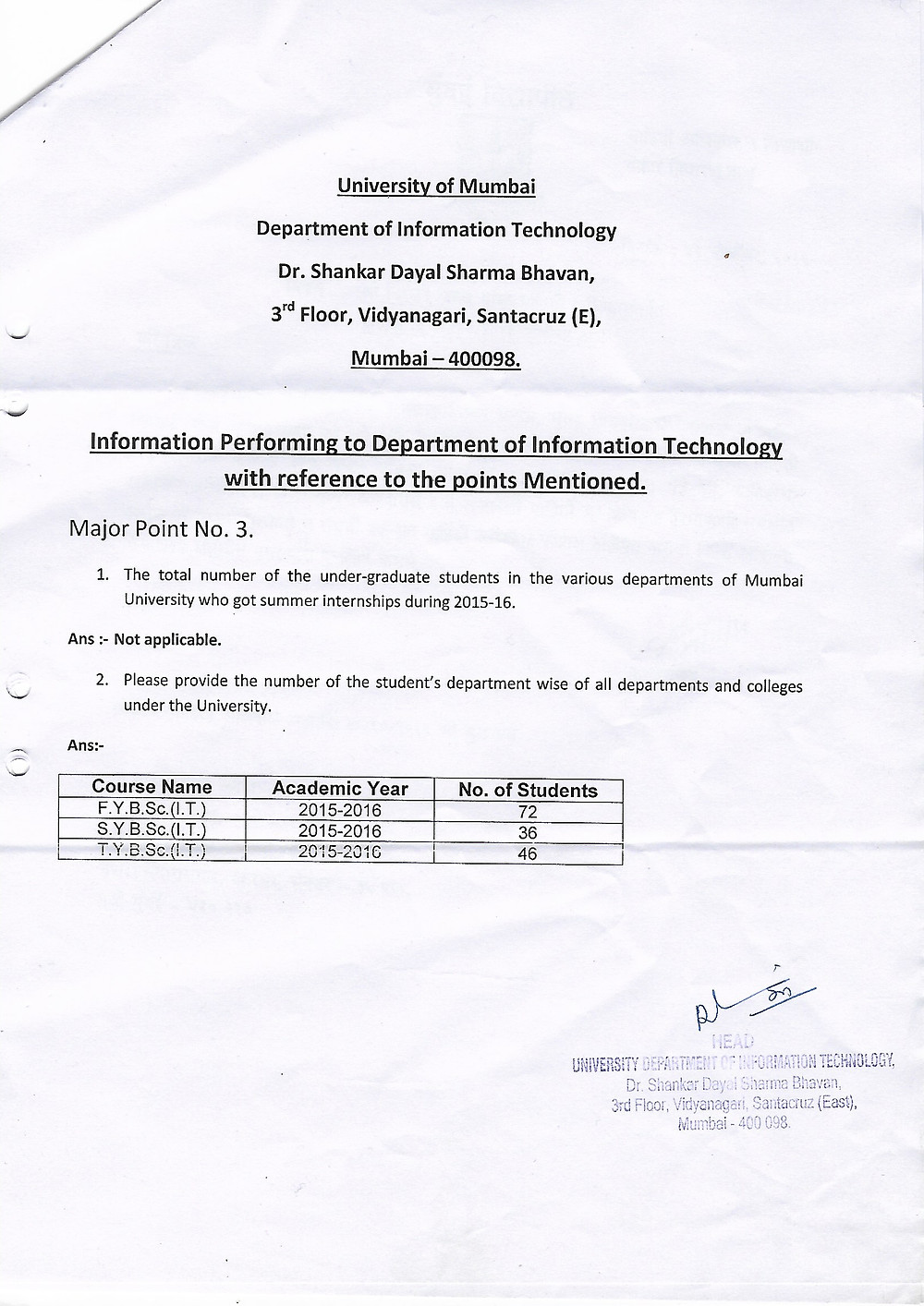 Mumbai University Summer Internships