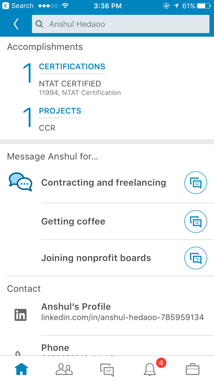 Verifying the NTAT certification through Linkedin