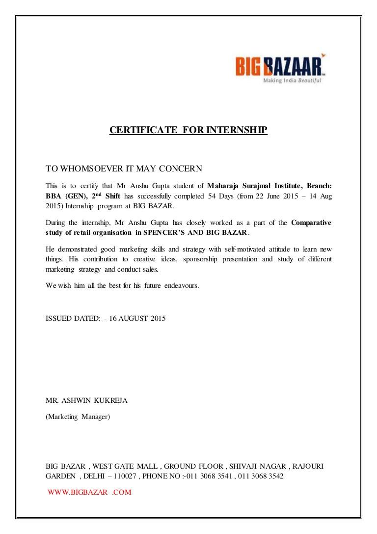 Internship Certificate Anshu Gupta
