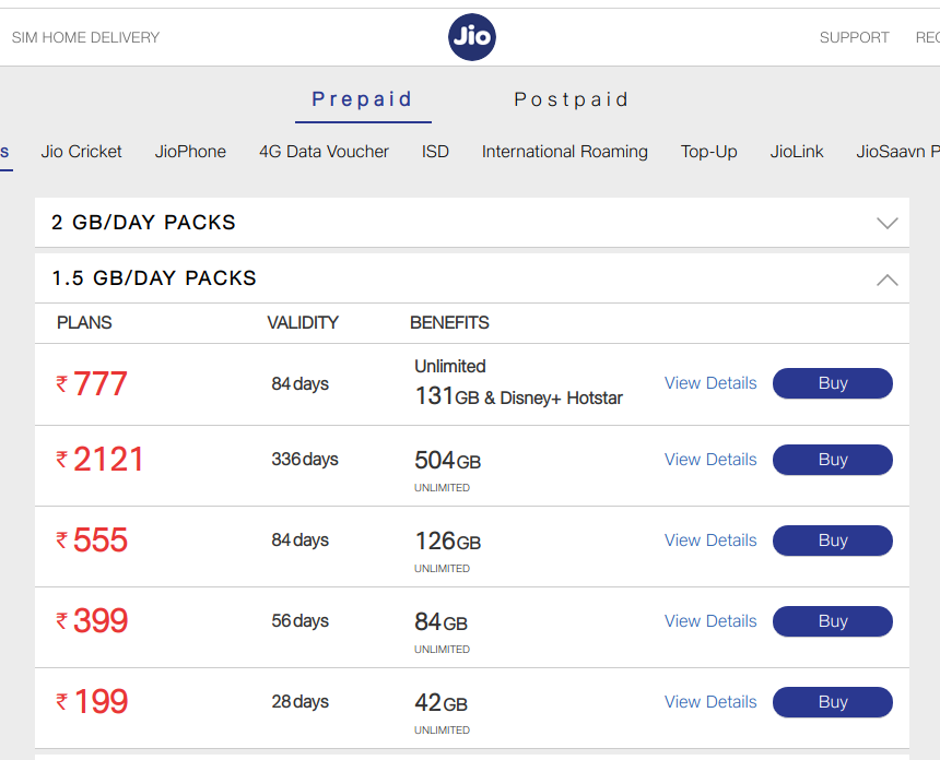Jio Recharge Plans