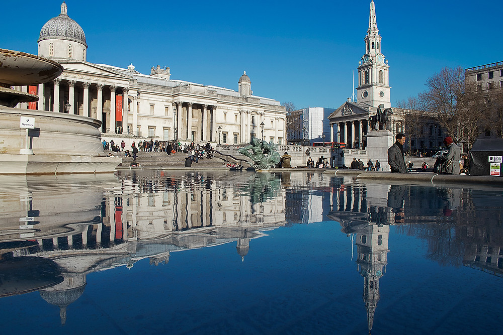 Trafalgar Square, National Gallery e St Martin-in-the-Fields church. Roteiro Londres