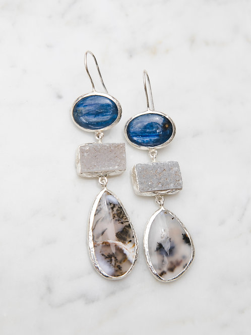 Earrings with kyanite, quartz and moss agate // silver 925