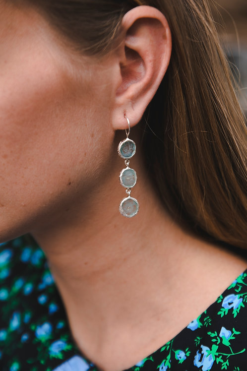 Earrings with three aquamarines // silver 925