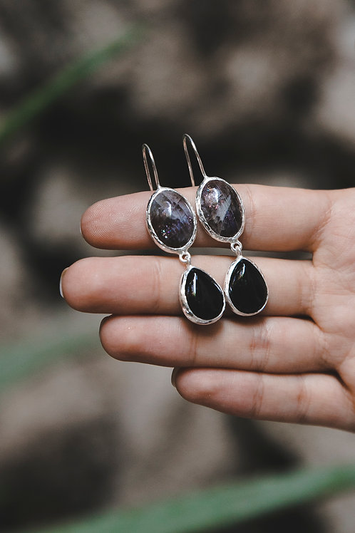 Еarrings with sun stone and agate// silver 925