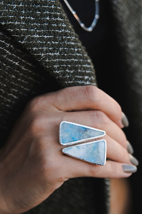 Ring with violan // silver 925