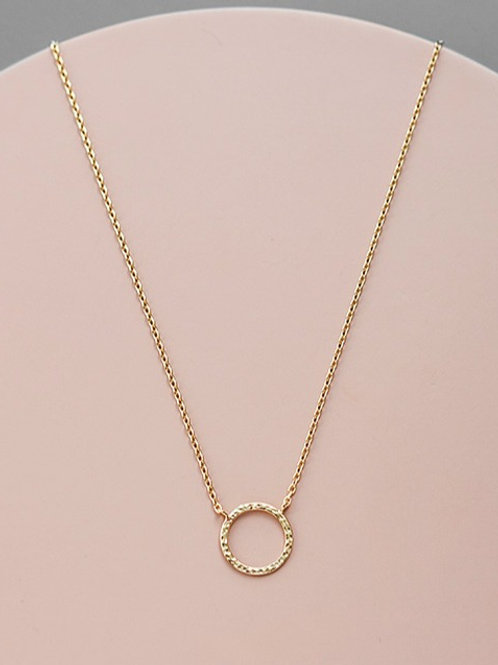 Crumpled circle necklace // gold plated