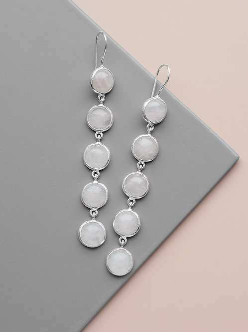 Earrings with five pink quartz stones // silver
