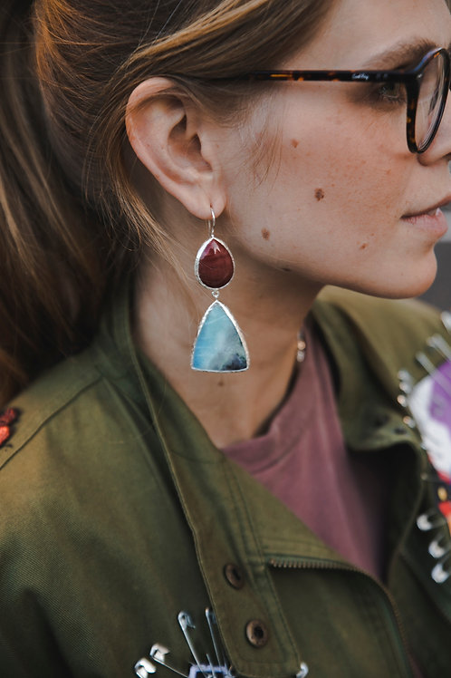 Earrings with violan and jasper // silver 925