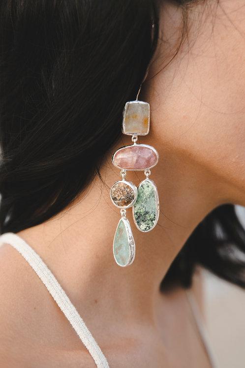 Earring with agate, tourmaline, druse pomegranate, aquamarine, demantoid