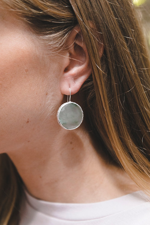 Earrings with round quartz with actinolite // silver 925