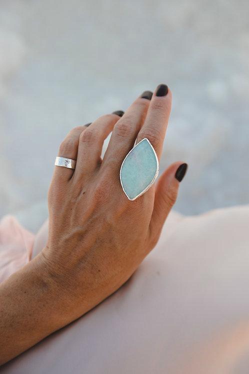 Beryl leaf ring // silver 925