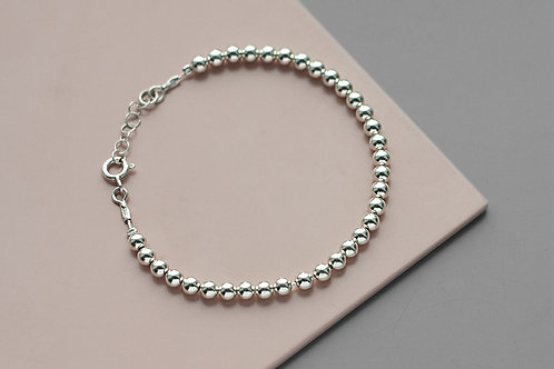 Bracelet with 4 mm beads // silver 925