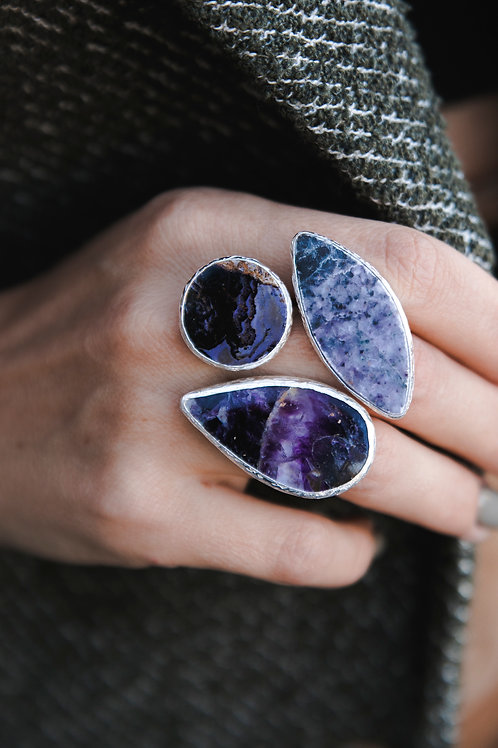 Ring with fluorite and lepidolite // silver 925