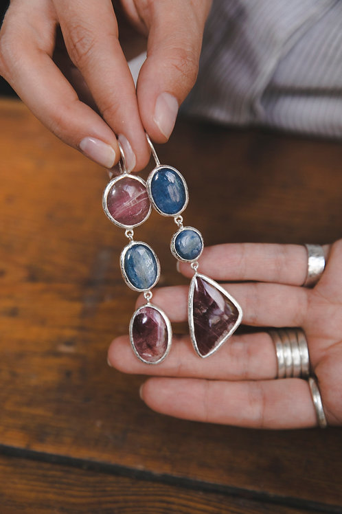 Earring with kyanite and tourmaline // silver 925