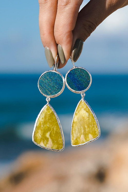 Earrings with azurite and ophite // silver 925