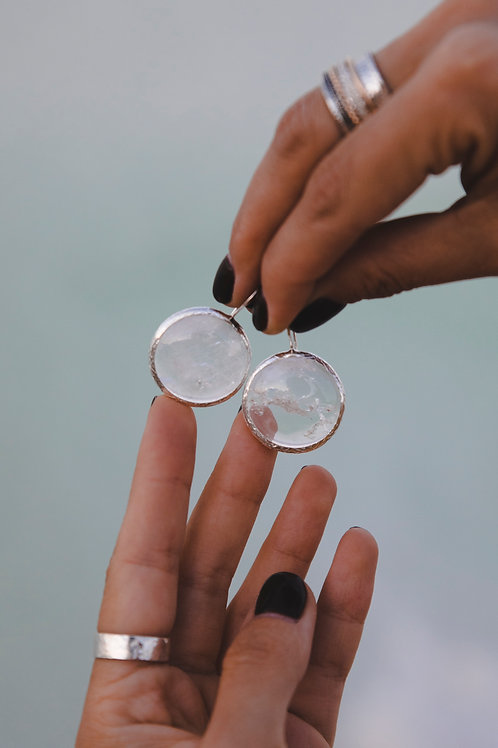 Small round rock crystal earrings // silver 925