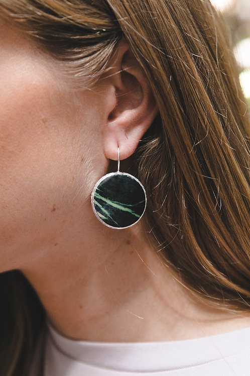 Еarrings with malachite // silver 925