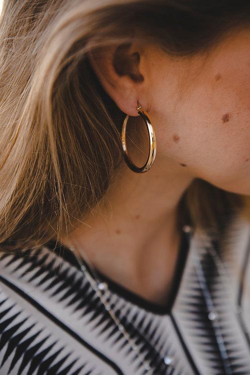 Hoop earrings 4 cm // gold plating