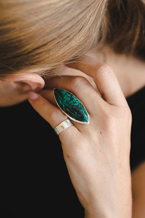 Ring with chrysocolla malachite leaf