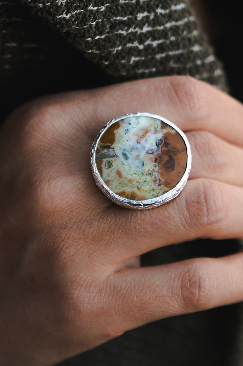 Ring with moss agate // silver 925
