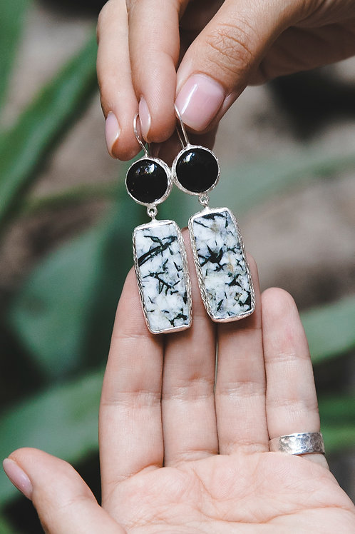 Еarrings with agate and pegmatite // silver 925