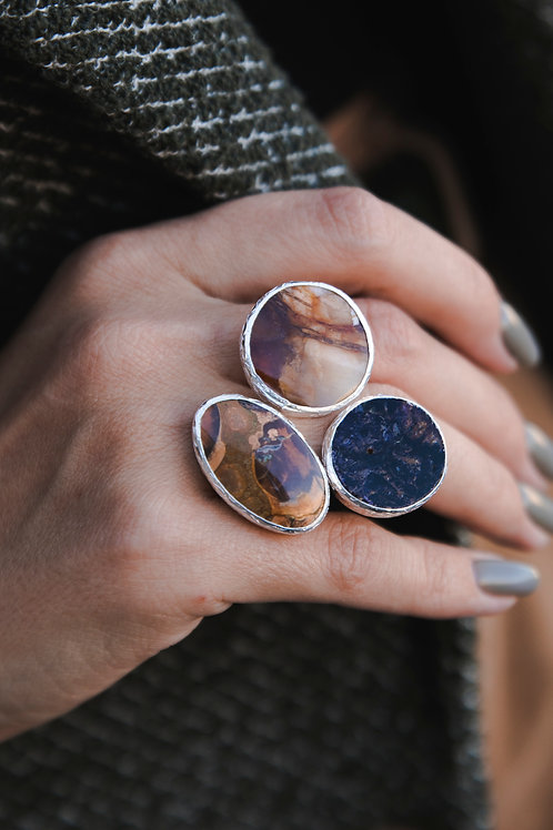 Ring with jasper and fluorite // silver 925