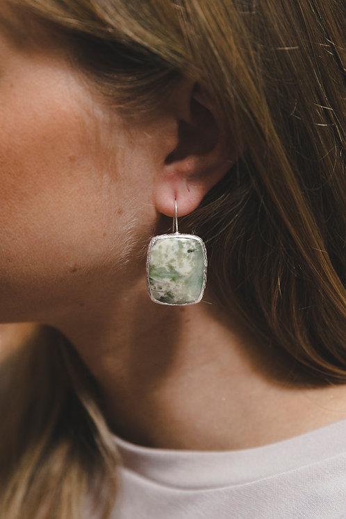 Earrings with rectangular chrysoprase // silver 925
