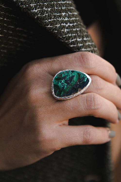 Ring with malachite // silver 925